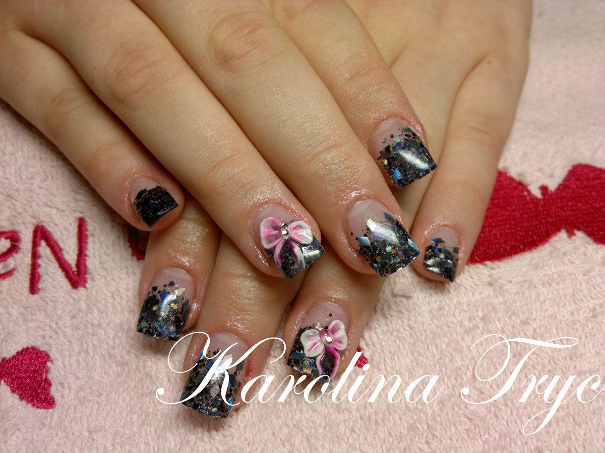 Gel Nails Designs   Sculpted nails with Golden Nails uv gel - black ...
