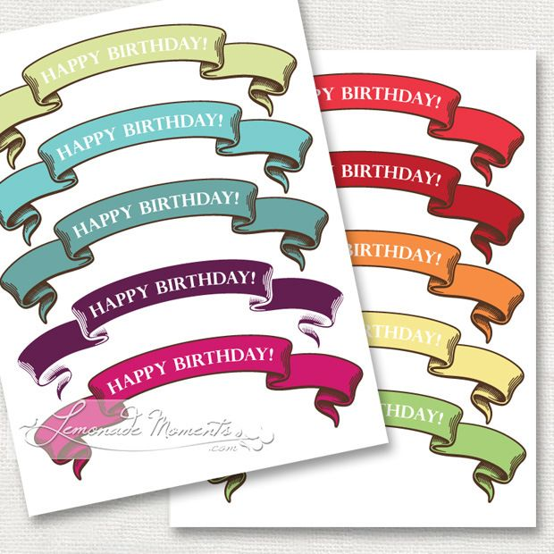 FF Lemonade Moments Birthday Happy Banner Printable Banners Cake