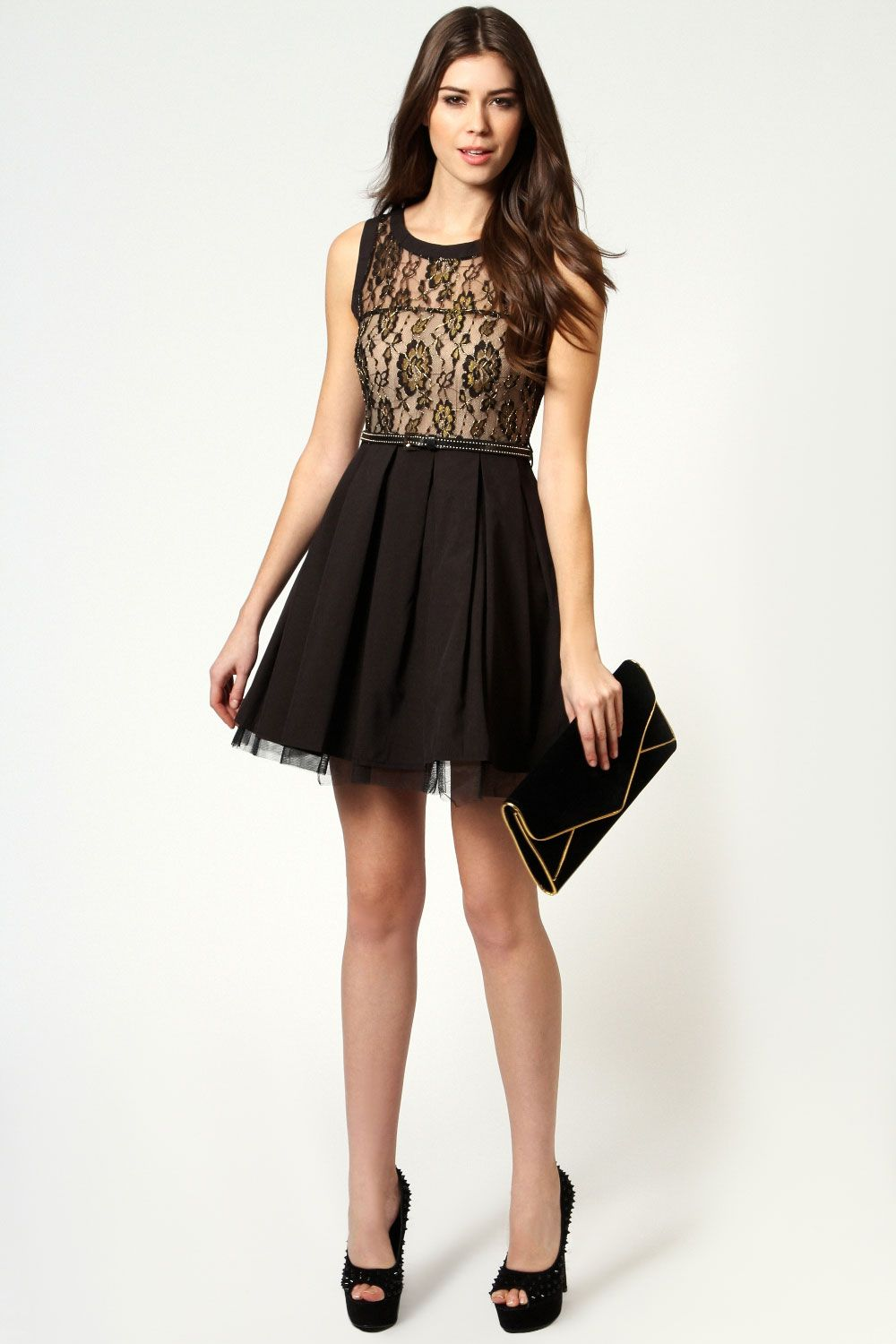 Charlie metallic lace prom dress with studded belt prom