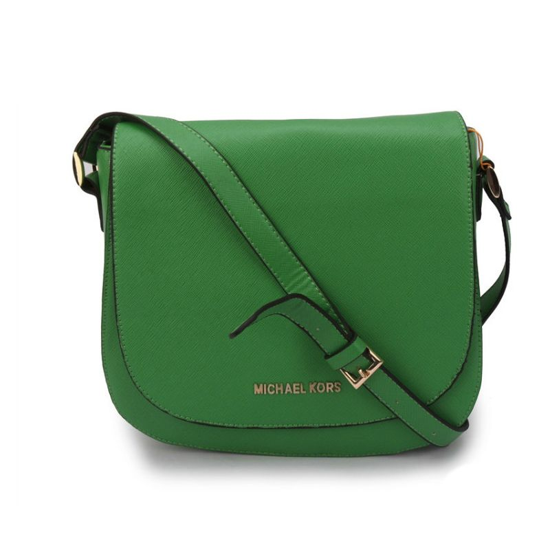 63fe6cfc2c86 Michael Kors Hayes Messenger Small Green Crossbody Bags