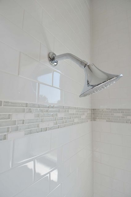 White Subway Tile With A Light Blue Mosaic Accent Subway Tiles