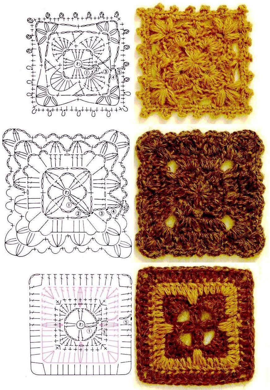 Love the first square !   Crochet - Motifs   Pinterest   Ganchillo ...