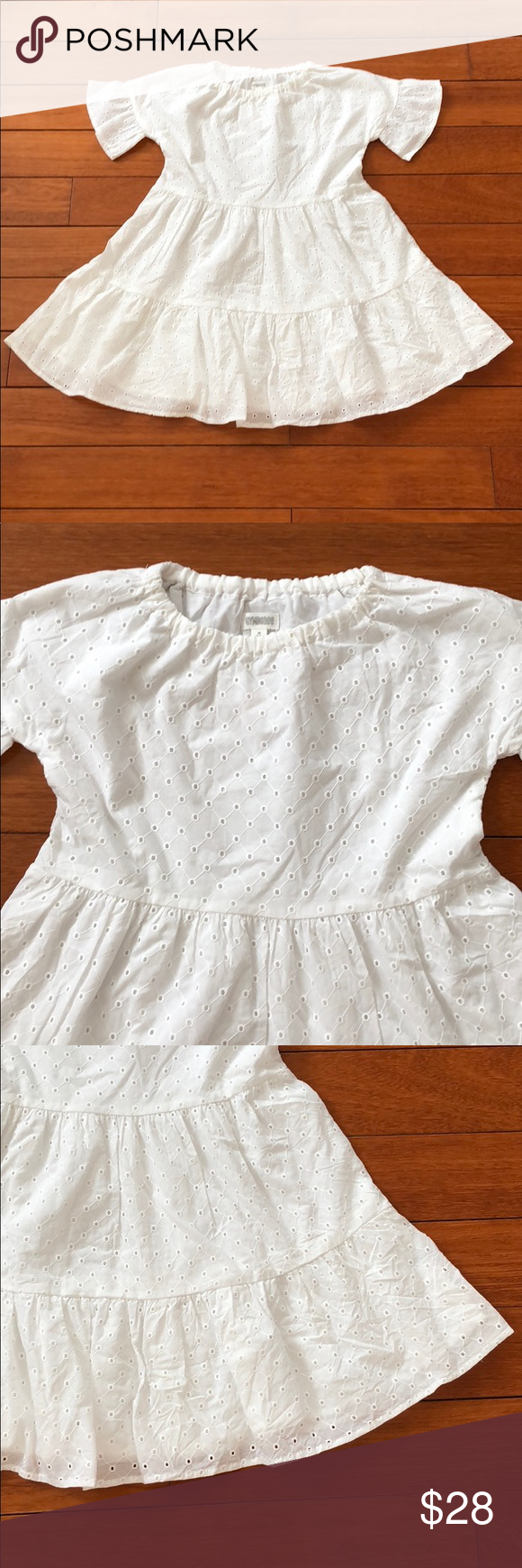 Hp Nwt Gymboree Girls White Eyelet Dress M7 8 Fashion White Eyelet Dress Combo Dress [ 1740 x 580 Pixel ]