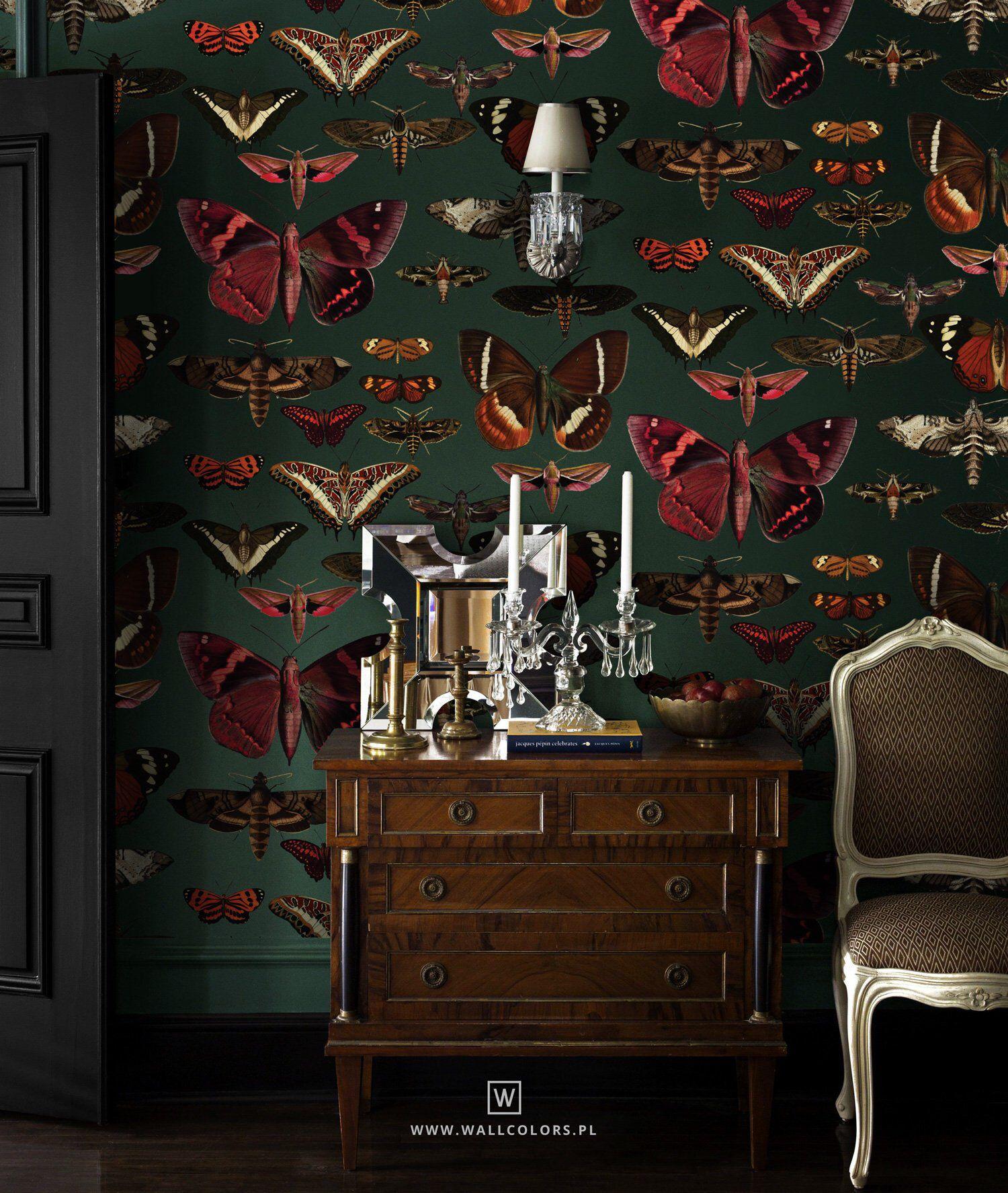 Removable Vintage Wallpaper Butterflies Pattern Dark Green Etsy Vintage Wallpaper Living Room Decor Decor