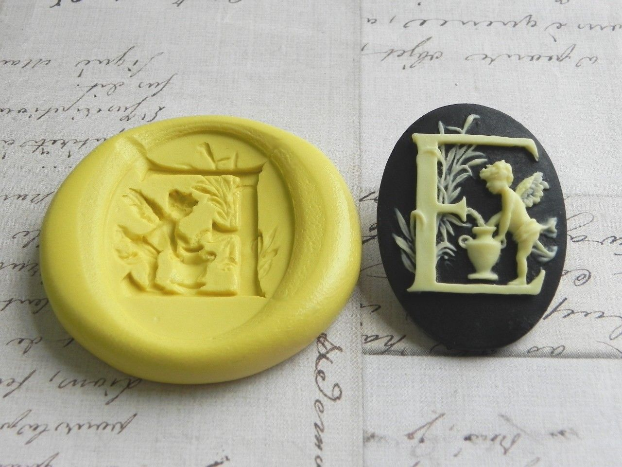Vintage Angel Alphabet 40mm x 30mm Cabochon Series - LETTER E - Flexible Silicone Mold - Polymer Clay Mold, Resin Mold. $4.99, via Etsy.