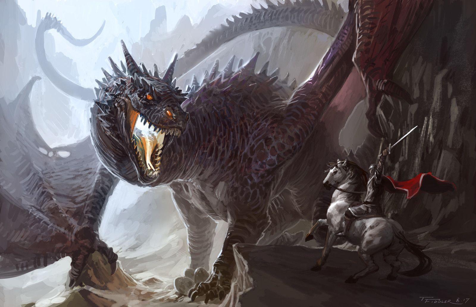 Картинки нападающие драконы рыцари