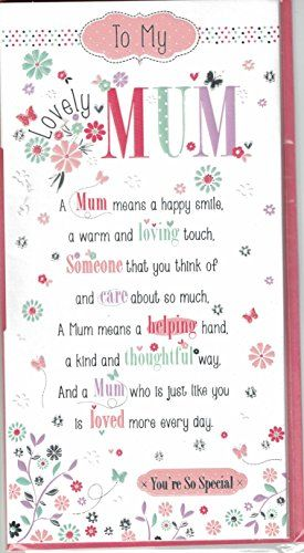 From 1 99 Mum Birthday Card To My Perfect Mum Sentimental Verse Quality Slim Card Birthday Verses Birthday Cards For Mum Verses For Cards
