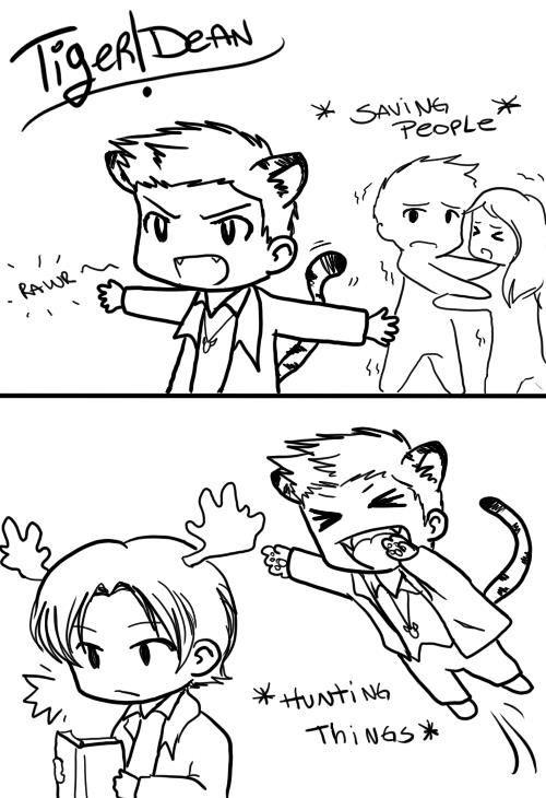 Tiger!Dean: saving people, hunting things (ha ha, cute