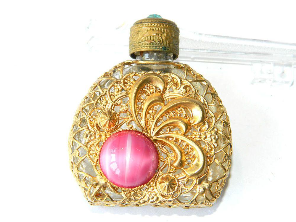 Miniature PERFUME BOTTLE Art Nouveau w/ Pink Bohemian Glass, France ca.1900