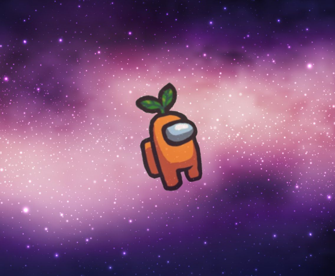 Among Us Character Space Carrot Cute Wallpapers Space Backgrounds Wallpaper