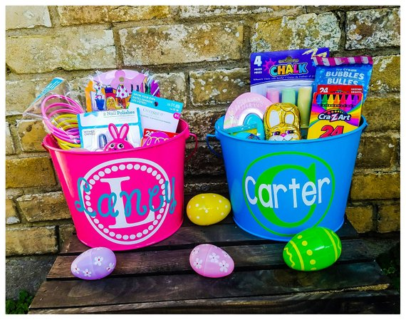 Halloween /& Christmas Personalized Buckets  Gift Bags for Easter