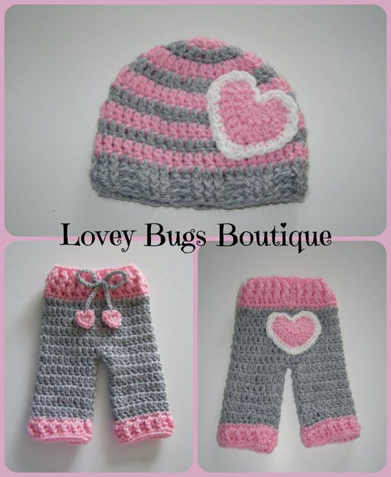 Newborn Crocheted Striped Heart Hat and Pants Set- Valentines Day Photo Prop-  Made to Order on Etsy, $28.00