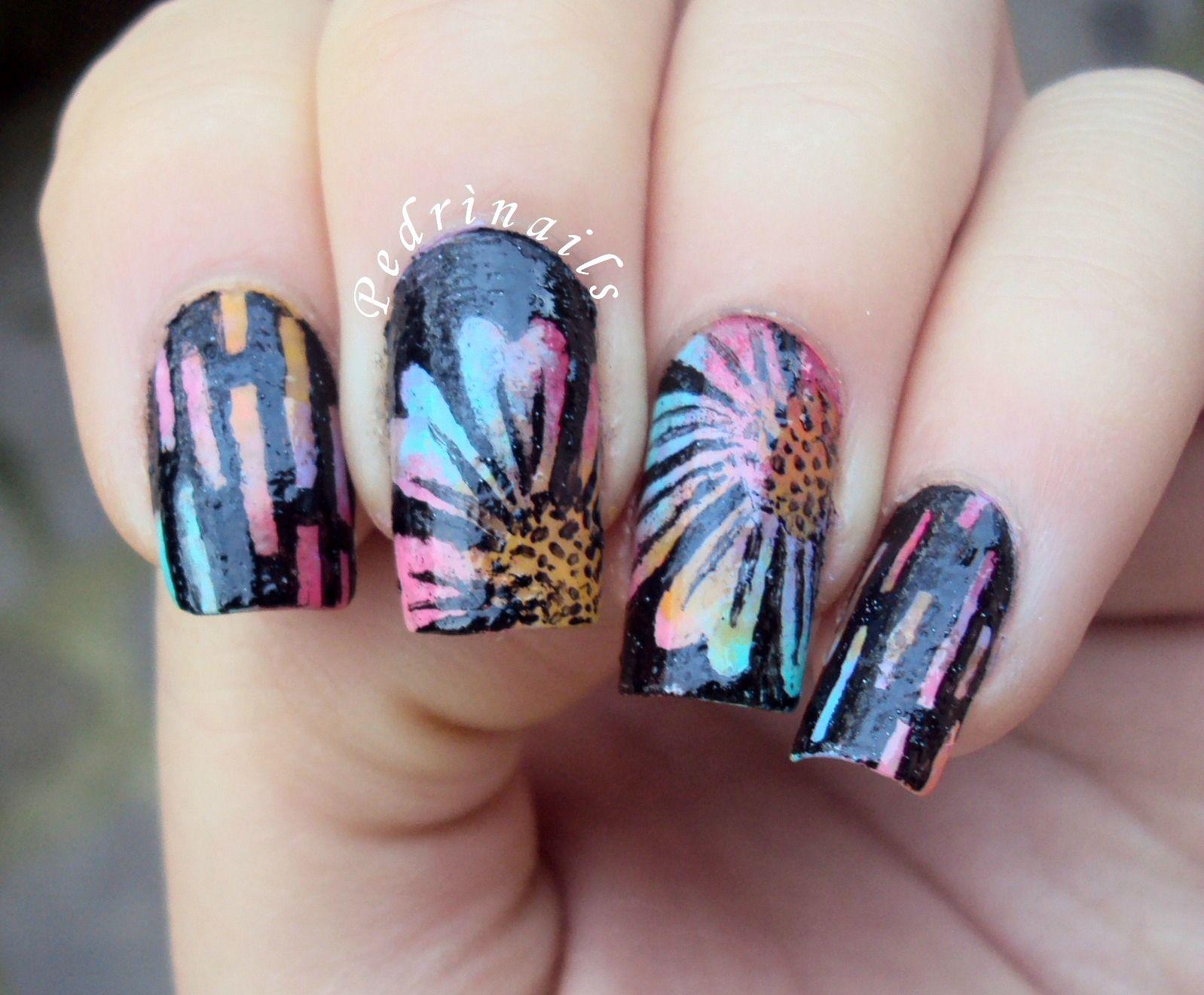 Skittlette multi colored floral pastels sponged manicure negative ...