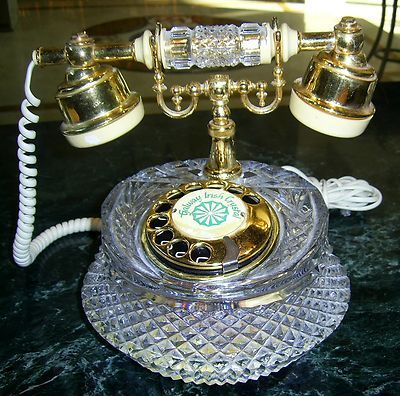 Vintage Galway Irish Crystal Rotary Telephone Collectors L K Crystals Galway Irish