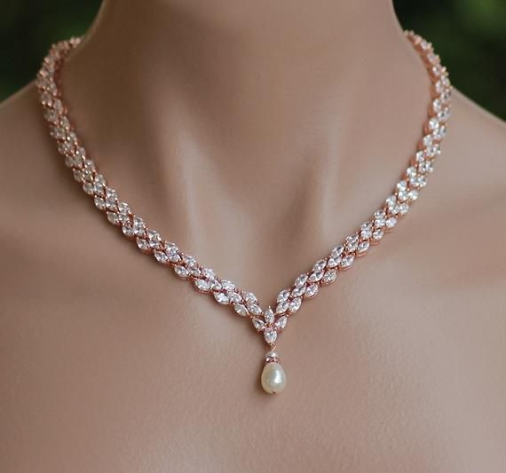 9989e623d Rose Gold Crystal Necklace, Pearl Drop Crystal Necklace, Rose Gold ...