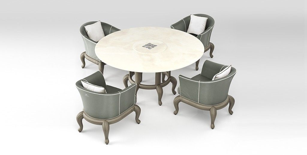CANOPO Round Table and Armchair. Refined structures that combine ...