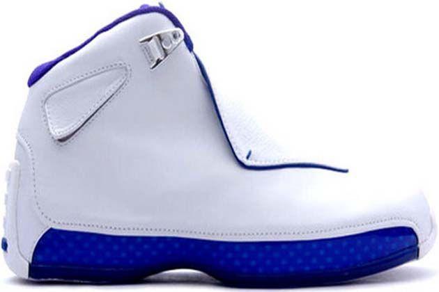 3d5790f5843 Air Jordan 18 Retro Original (OG)-White Metallic Silver-Sport Royal Shoes