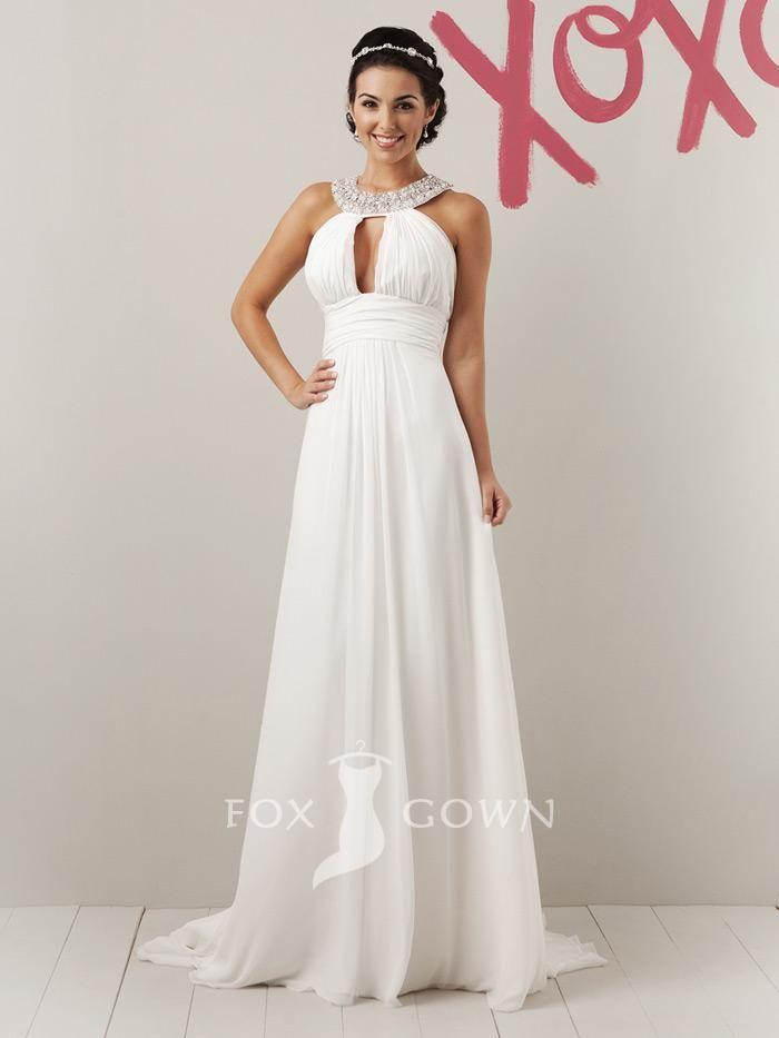 halter floor length fun summer wedding dress with beaded grecian ...