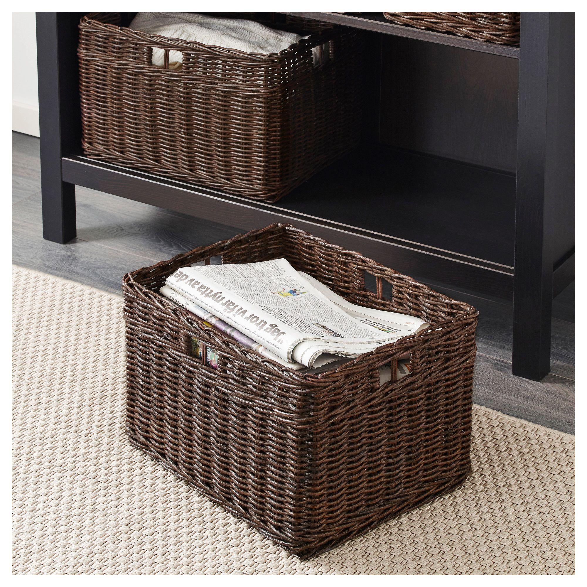 Gabbig Dark Brown Basket Width 29 Cm Ikea Ikea Wicker Baskets Storage Brown Baskets