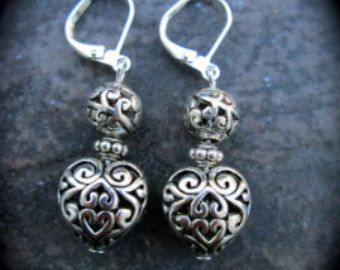 Brighton style heart earrings with leverback closures pewter silver filigree beads Valentines Day