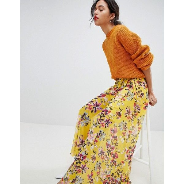 02b9f21898 French Connection Floral Wrap Maxi Skirt (€110) ❤ liked on Polyvore  featuring skirts, yellow, long wrap skirt, high-waisted skirt, yellow high  waisted maxi ...