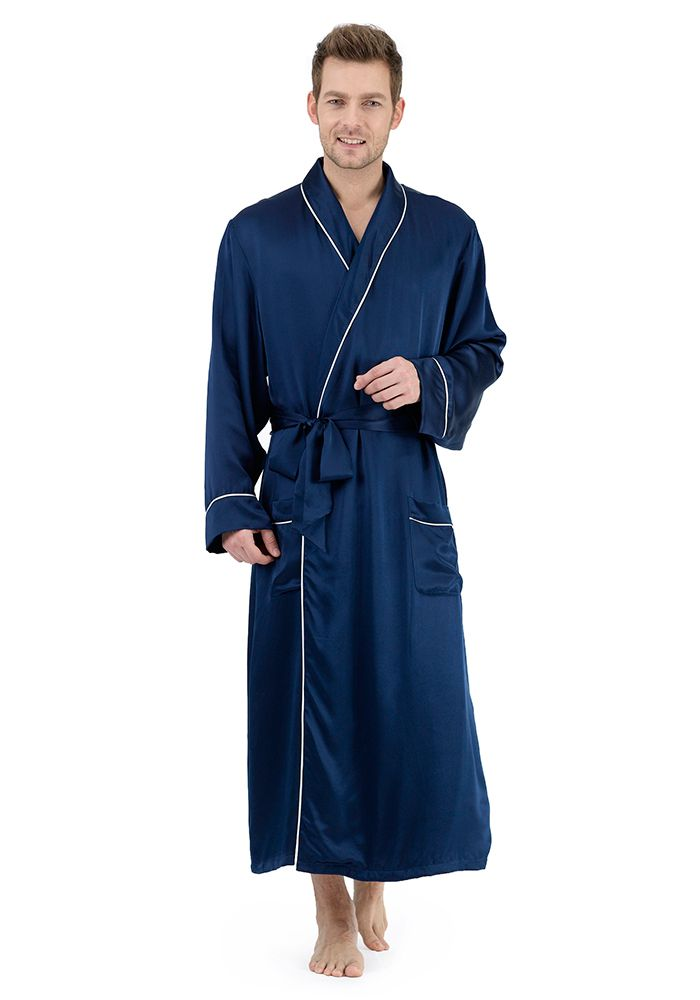Silk men nightwear robes--Black-Blue robes  Silk  robes  2f30b8176