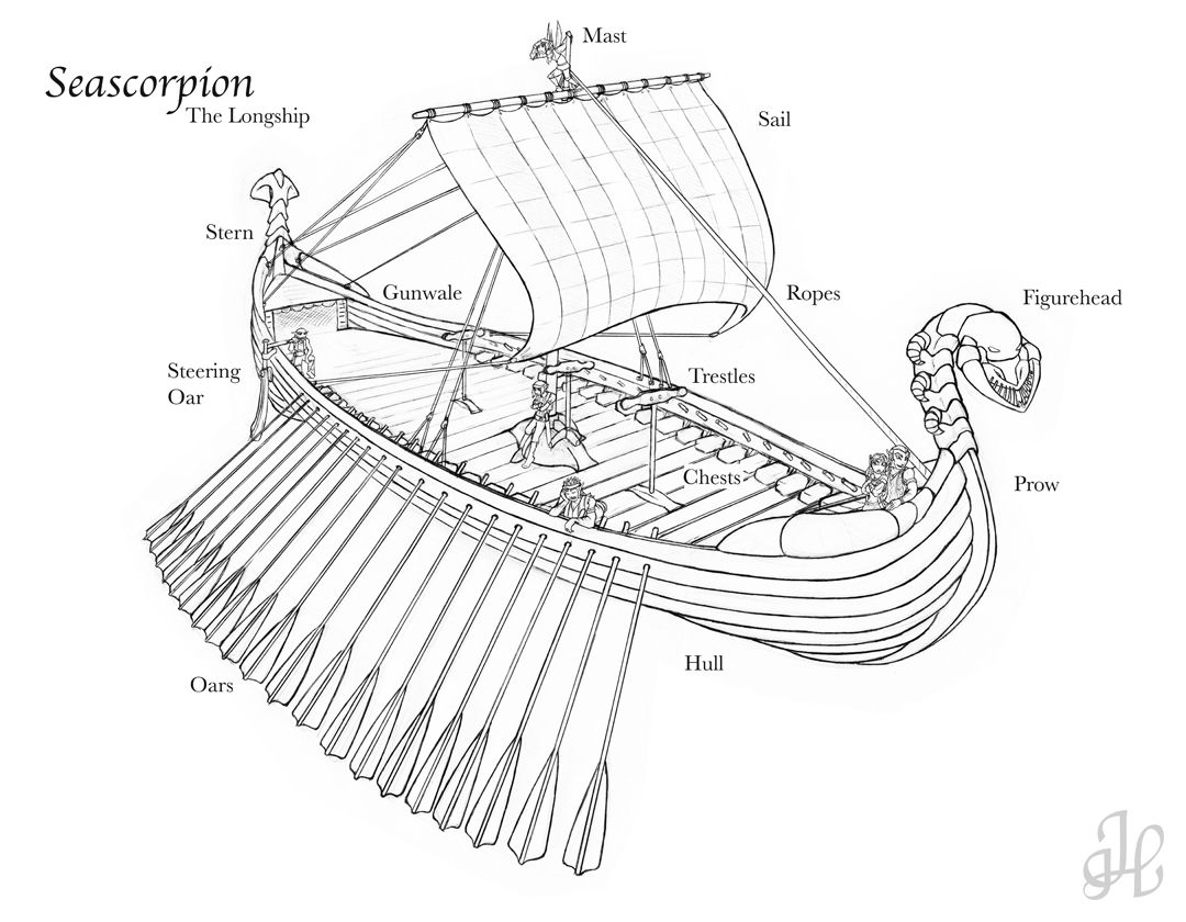 viking ship labeled - prepared lesson for Leif the Lucky by D ...