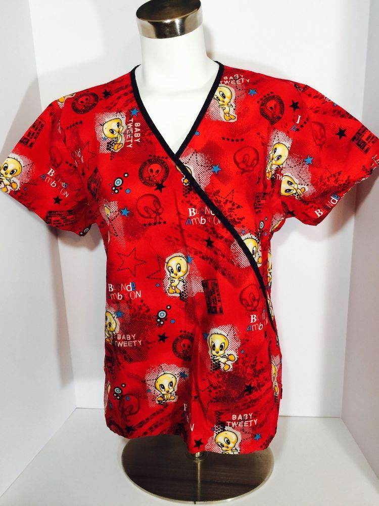 976eb46c1ce Baby Looney Tunes Scrub Top Uniform Baby Tweety Red Size Medium B14 | eBay