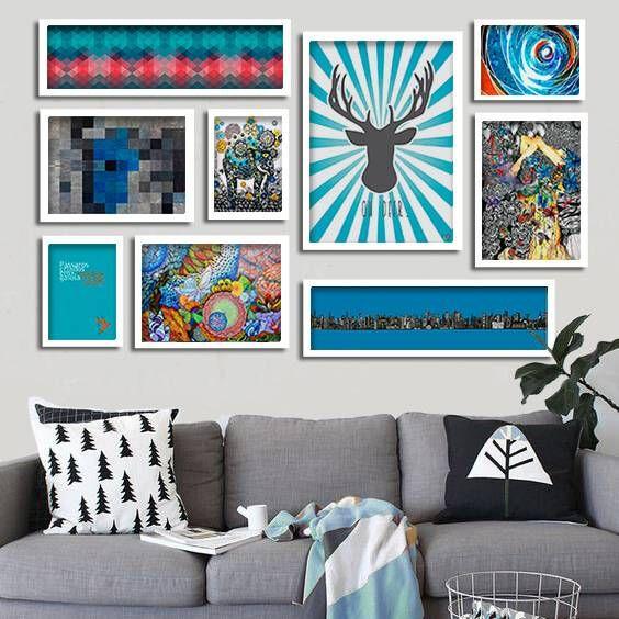 Composi o de quadros para decora o em tons de azul e for Decoracao sala de estar quadros