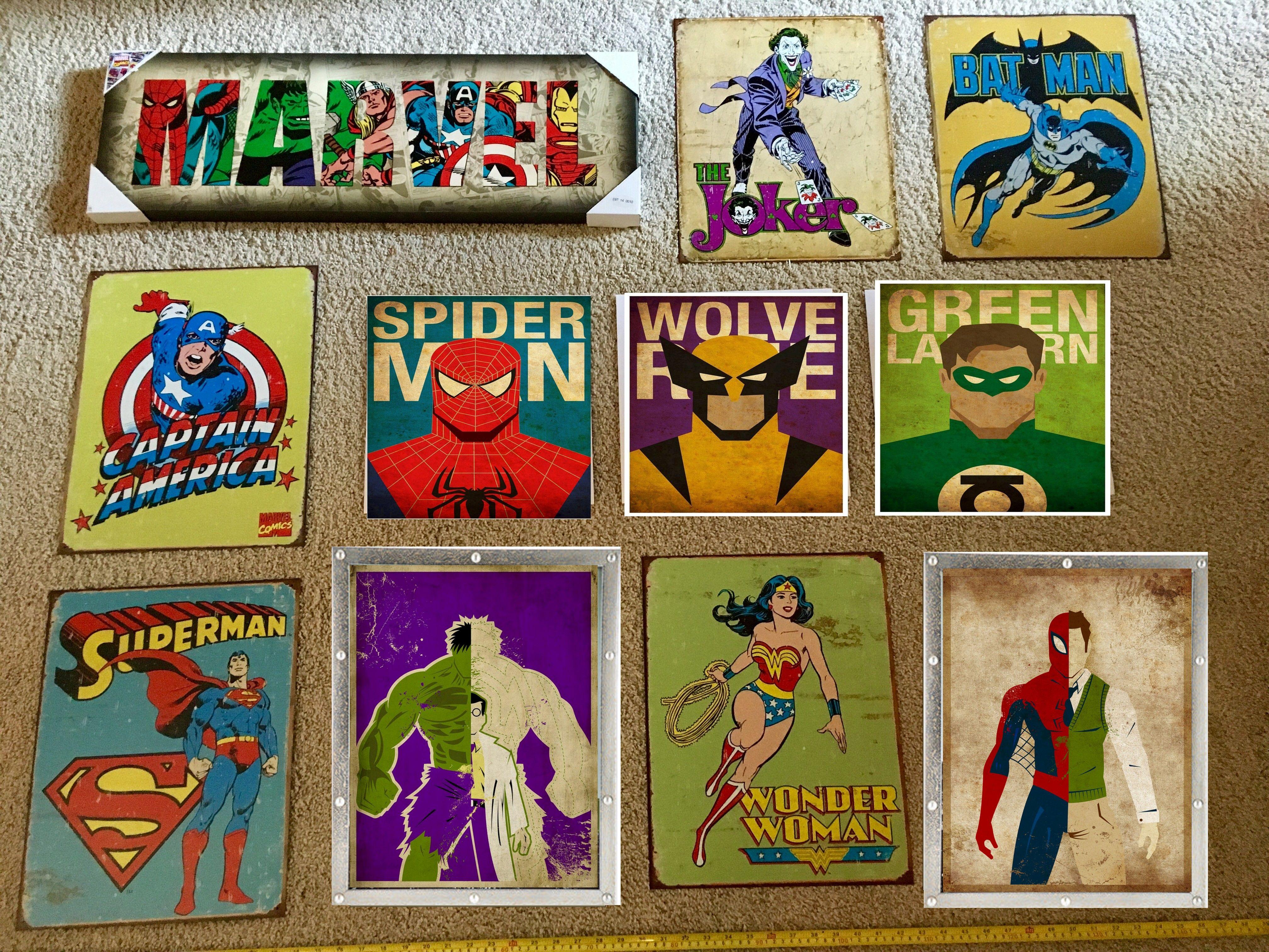 Vintage Superhero Wall Art Collage