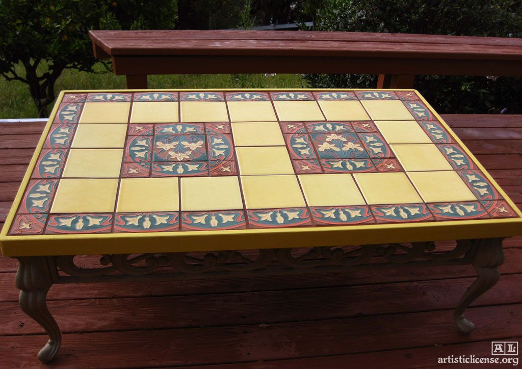 Ceramic Tile Top Kitchen Table Google Search Concrete Dining Table Tile Patio Table Deck Decorating