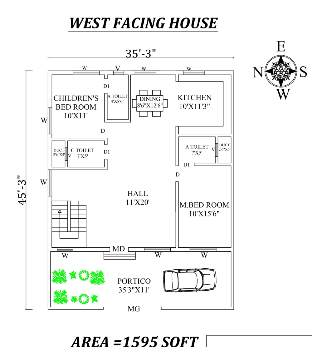 35 X45 Marvelous 2bhk West Facing House Plan As Per Vastu Shastra Autocad Dwg And Pdf File Details West Facing House 30x50 House Plans House Plans
