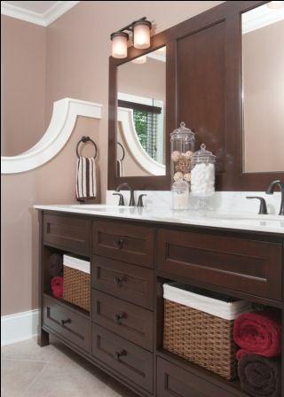 (1) mahogany vanity (2) plenty of drawer and basket