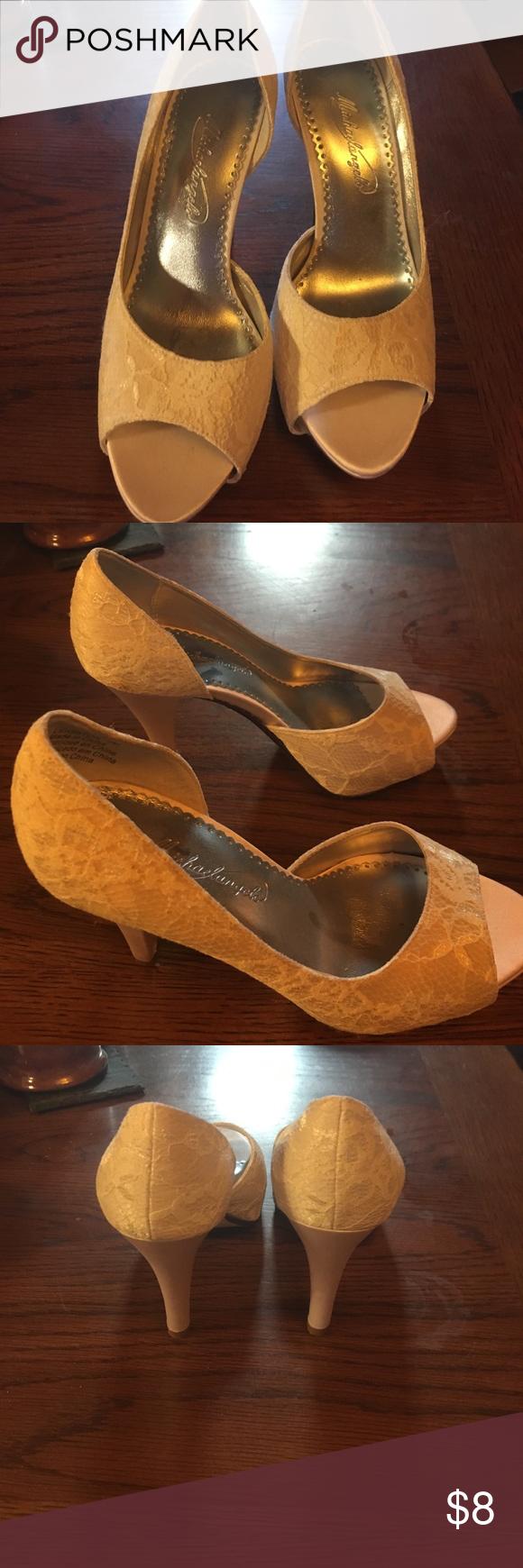 Wedding Shoe Michael Angelo White Shoes Worn Once Heels