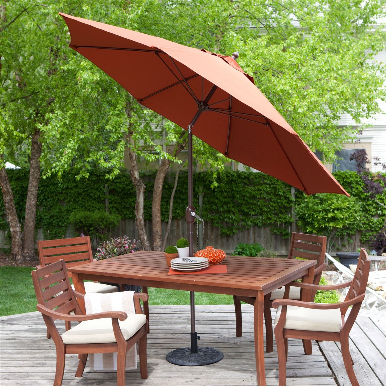 9 Ft Tilt Patio Umbrella With Rust Red Orange Shade And Bronze Finish Pole Quality House