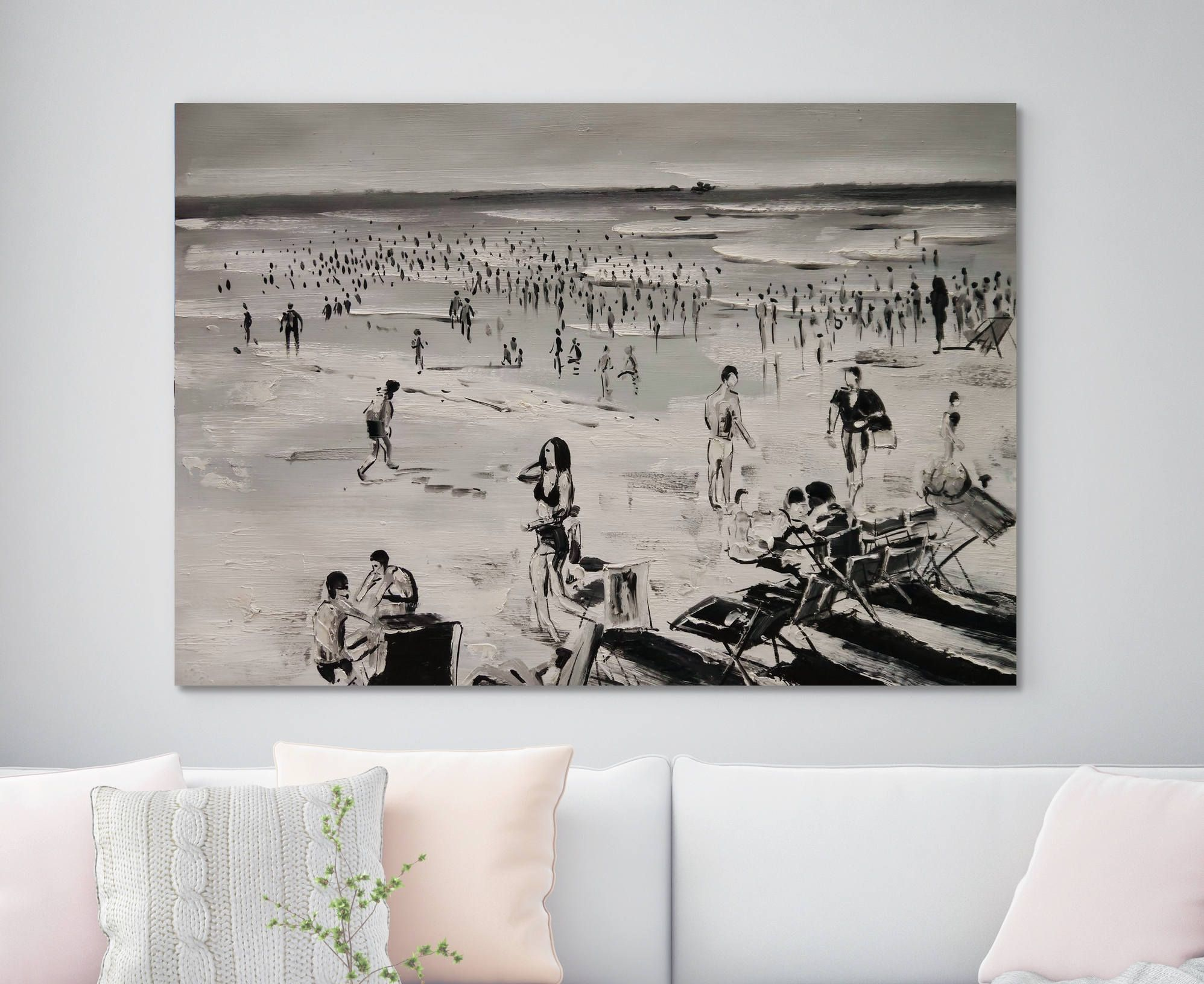 Large Beach Art Black White People Seascape Painting Original Oil
