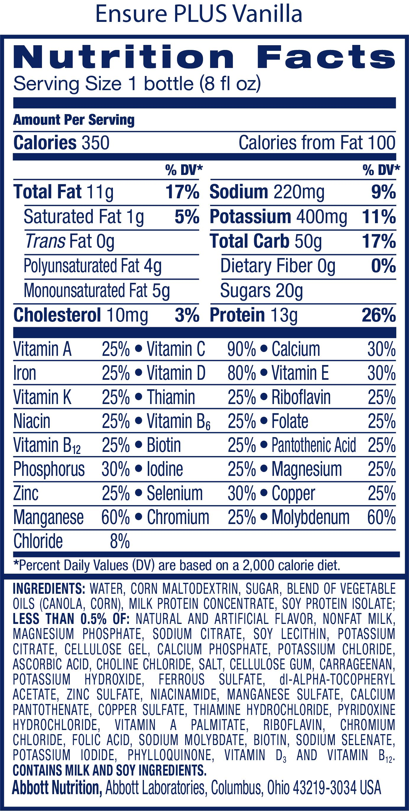 Ensure Plus Nutrition Facts Label In 2021 Nutrition Facts Label Vanilla Nutrition Nutrition Facts