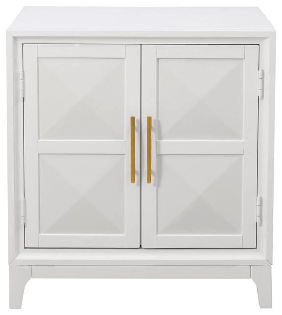 2 Door Geometric Front Accent Chest Modern White Transitional Accent Chests And Cabinets By Homefare