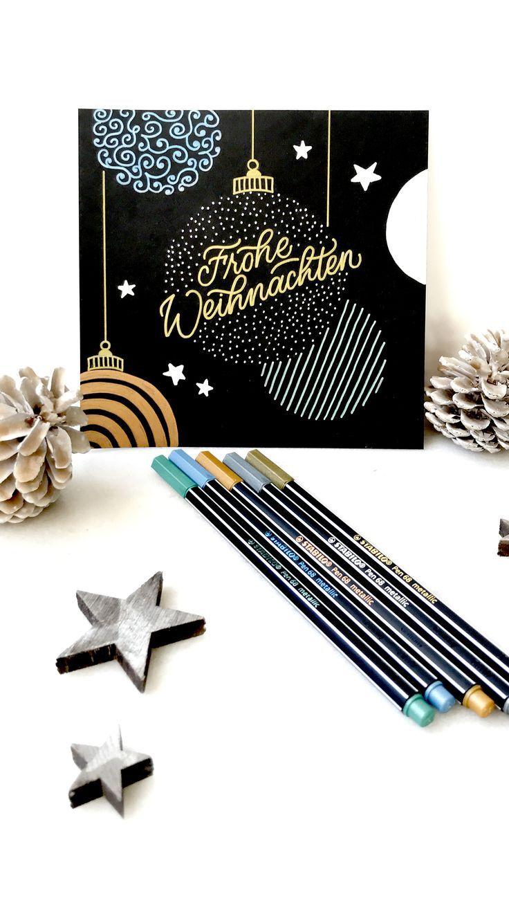 Photo of DIY: Weihnachtskarte mit Stabilo Pen 68 metallic-Stiften – Katja Haas | PapierLiebe