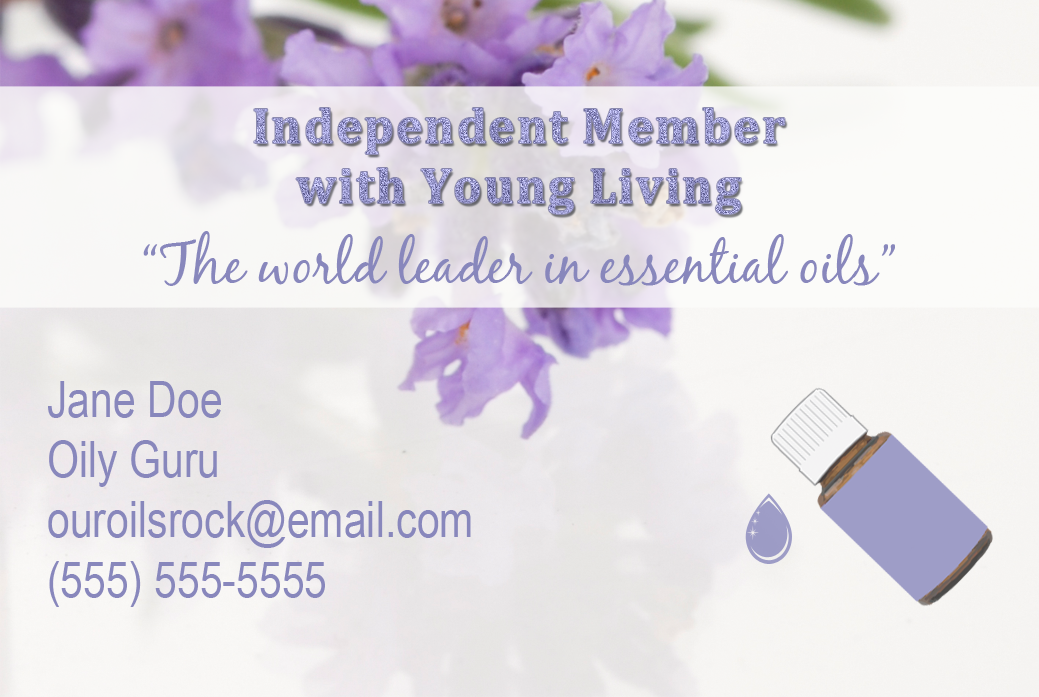A Beautiful Business Card Featuring Young Living As The World Leader In Essential Oils