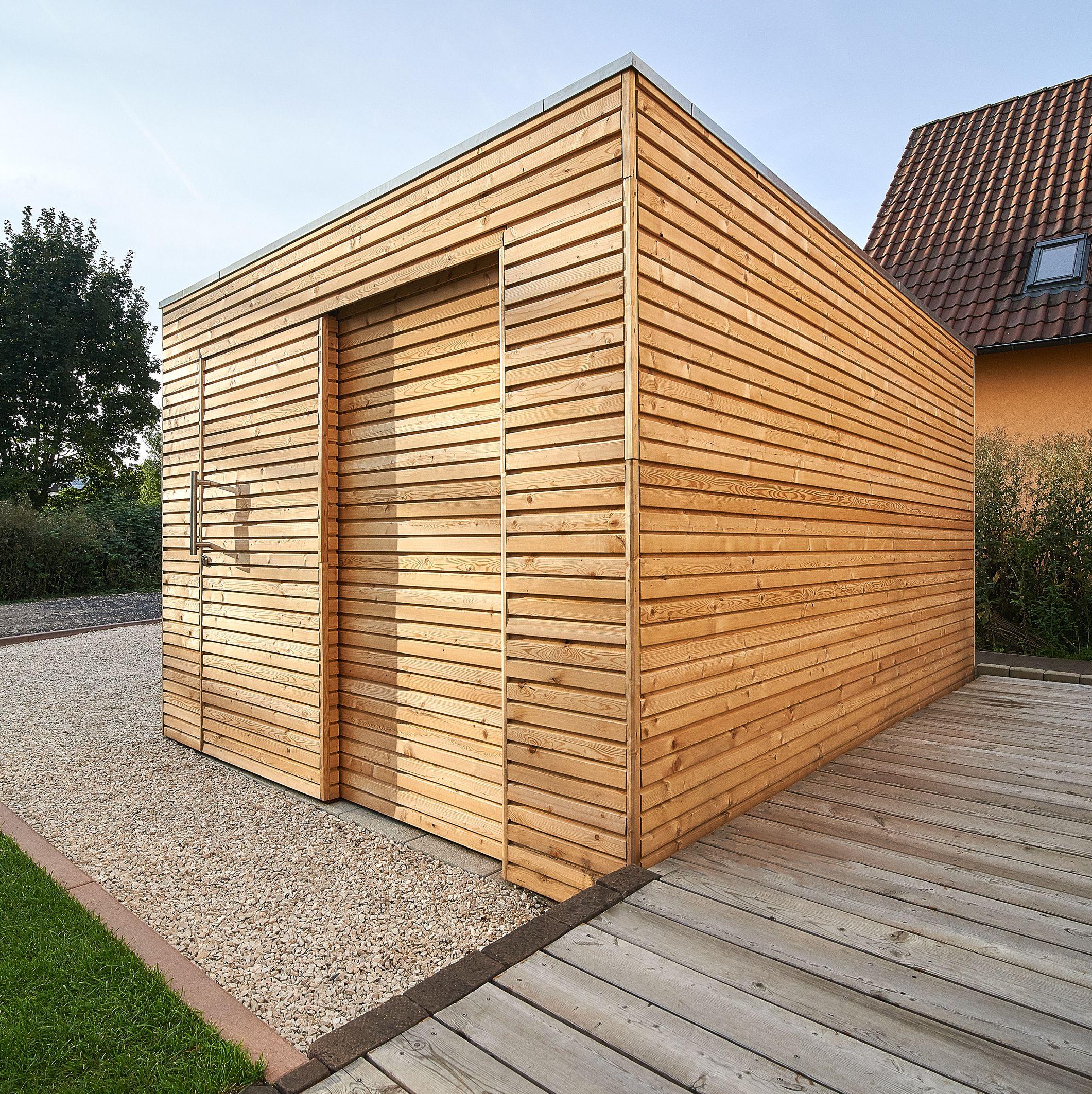 Gartenhaus Design Mit Laerchenholz, Flachdach, Schiebetür