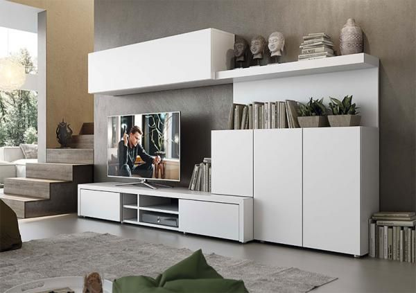 Modern And Stylish Natural Wall Storage System With Cabinets And TV Unit    See More At