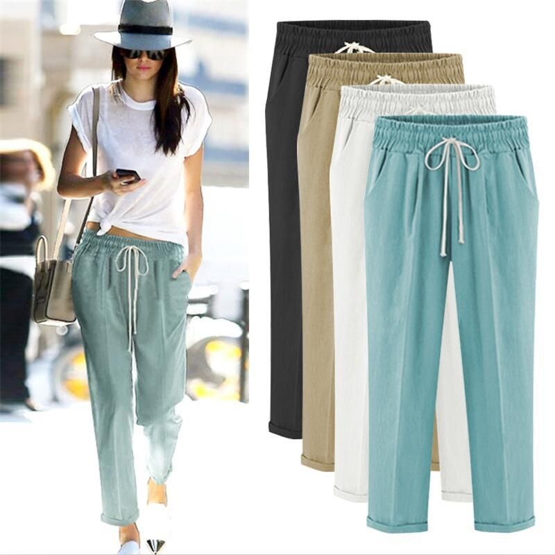 5d105f8b8278 Autumn Bohemian Solid Elastic waist Linen cotton Women Pants Loose Casual Summer  Pants Plus Size M-5XL 6XL 7XL Full length trousers  boho  gypsy  bohochic  ...