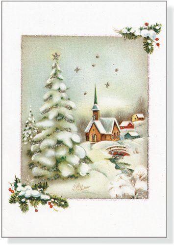 winter church christmas card Vintage Winter Church Small Boxed