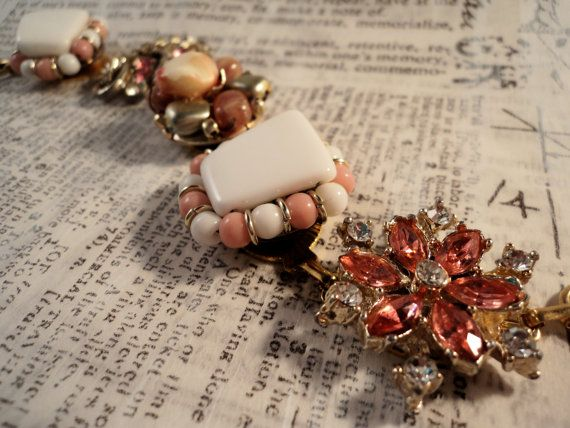 Vintage Charm Bracelet - Pink and White Bracelet Upcycled Vintage Earrings