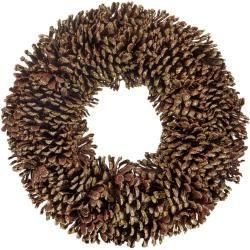 Photo of Decorative wreath, natural cones, creative deco