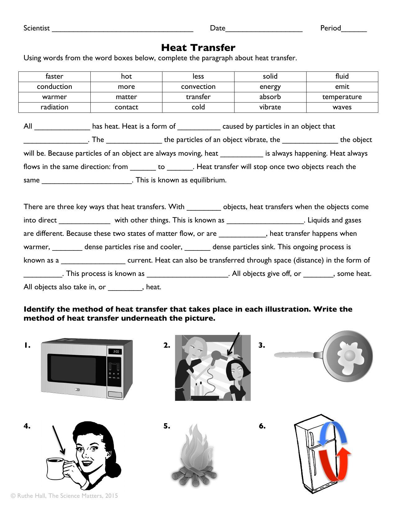 Heat Transfer Worksheet Answers Heat transfer science