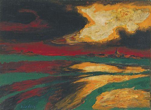 Emil Nolde (German, 1867-1956), Autumn Evening, 1924. Oil on canvas, 73 x 100.5. Museo Thyssen-Bornemisza, Madrid.