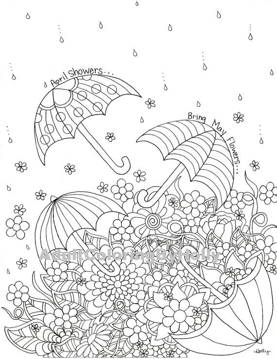 April Coloring Pages For Adults : Adult coloring book page april showers by