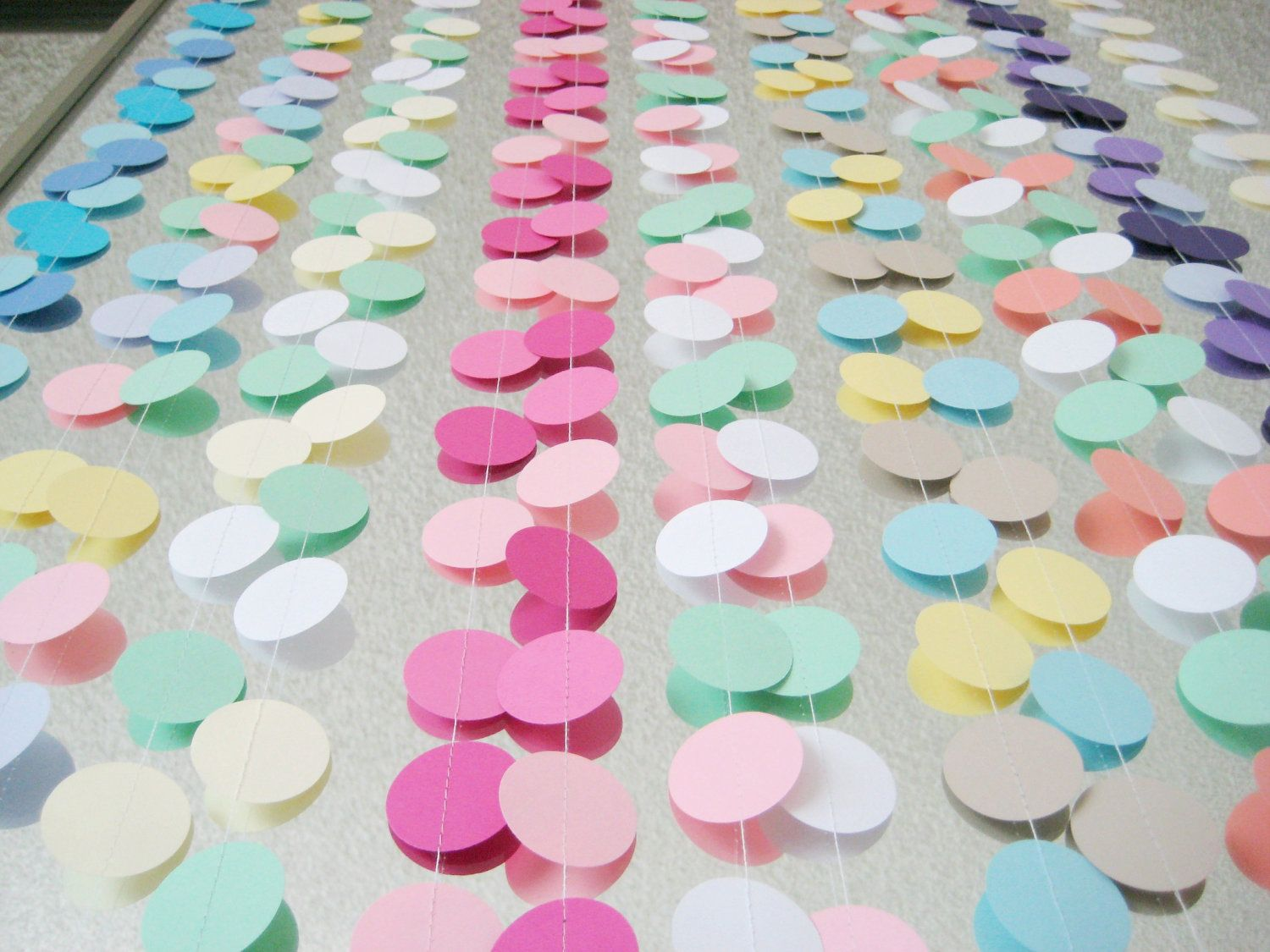 Wedding decorations paper  Teal Coral Yellow  ft Circle Paper Garland Party Decorations
